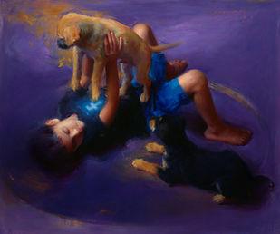 Offline by Pramod Kurlekar, Decorative Digital Art, Oil on Linen, Blue color