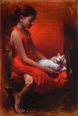 Gratitude by Pramod Kurlekar, Decorative Digital Art, Oil on Linen, Brown color