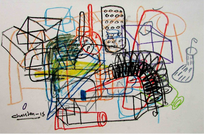 Elements 111 by Chandan Agrawal, Naive Drawing, Mixed Media on Paper, Gray color