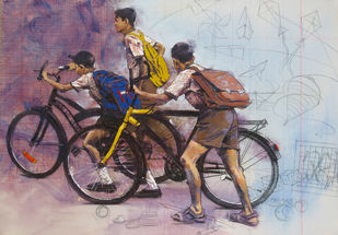 First Day by Manojkumar M.Sakale, Decorative Painting, Acrylic on Canvas, Brown color