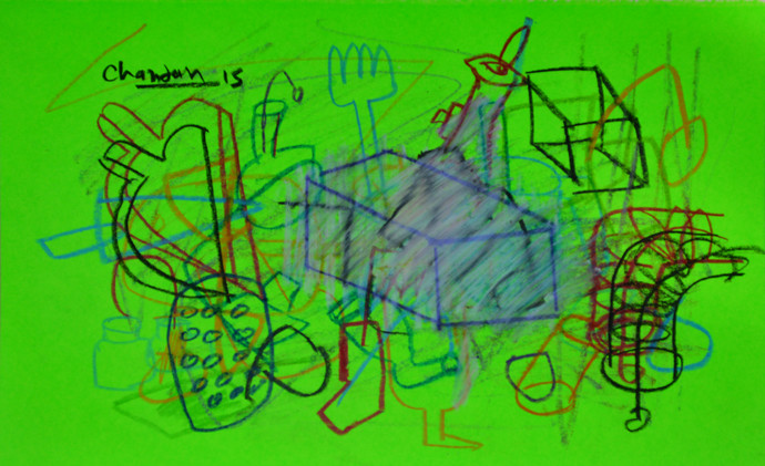 Elements 202 by Chandan Agrawal, Naive Drawing, Mixed Media on Paper, Green color