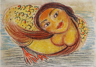 Kinnari 3 by Gogi Saroj Pal, Naive Painting, Dry Pastel on Paper, Brown color