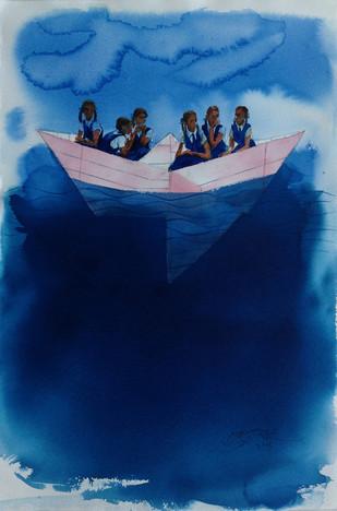 Rainy Days III by Manojkumar M.Sakale, , , Blue color