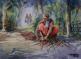 Village Beauty 4 by Mopasang Valath, Impressionism Painting, Watercolor on Paper, Brown color