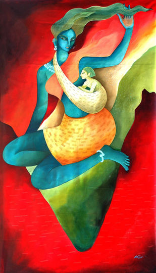 Mother India by Nitai Das, Expressionism Painting, Acrylic on Canvas, Red color