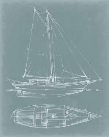 Yacht Sketches III Digital Print by Harper, Ethan,Illustration