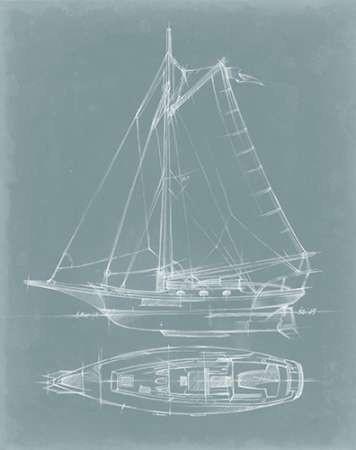 Yacht Sketches IV Digital Print by Harper, Ethan,Illustration