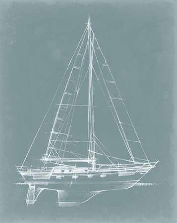 Yacht Sketches II Digital Print by Harper, Ethan,Illustration