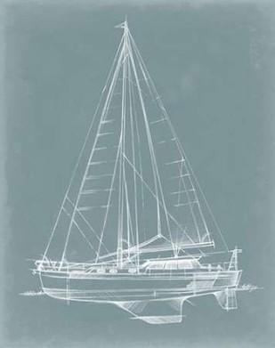 Yacht Sketches I Digital Print by Harper, Ethan,Illustration