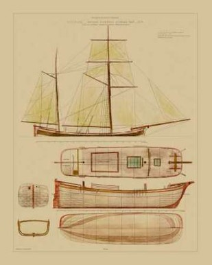 Antique Ship Plan IV Digital Print by Vision Studio,Decorative