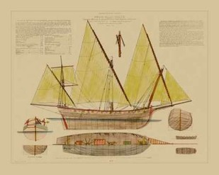 Antique Ship Plan V Digital Print by Vision Studio,Decorative