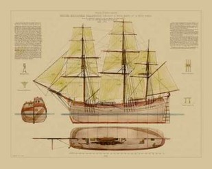 Antique Ship Plan VII Digital Print by Vision Studio,Art Deco