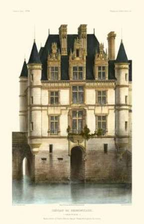 French Chateaux in Blue I Digital Print by Petit, Victor,Realism