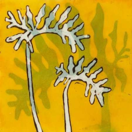 Gold Batik Botanical V Digital Print by Davis, Andrea,Decorative