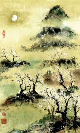 Viewing Plum Blossoms in Moonlight Digital Print by Rae, Nan,Impressionism