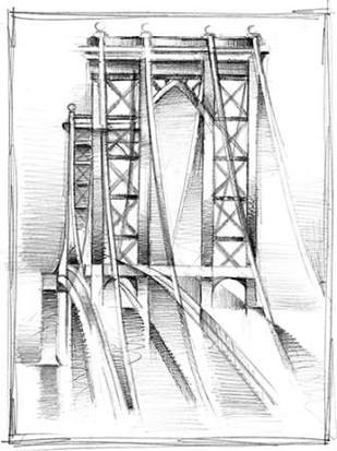 Art Deco Bridge Study I Digital Print by Harper, Ethan,Illustration