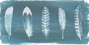 Feathers on Dusty Teal II Digital Print by Popp, Grace,Minimalism