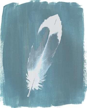 Feathers on Dusty Teal VII Digital Print by Popp, Grace,Minimalism