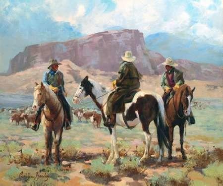 Three Cowboys Digital Print by Hawley, Carolyne,Impressionism, Impressionism