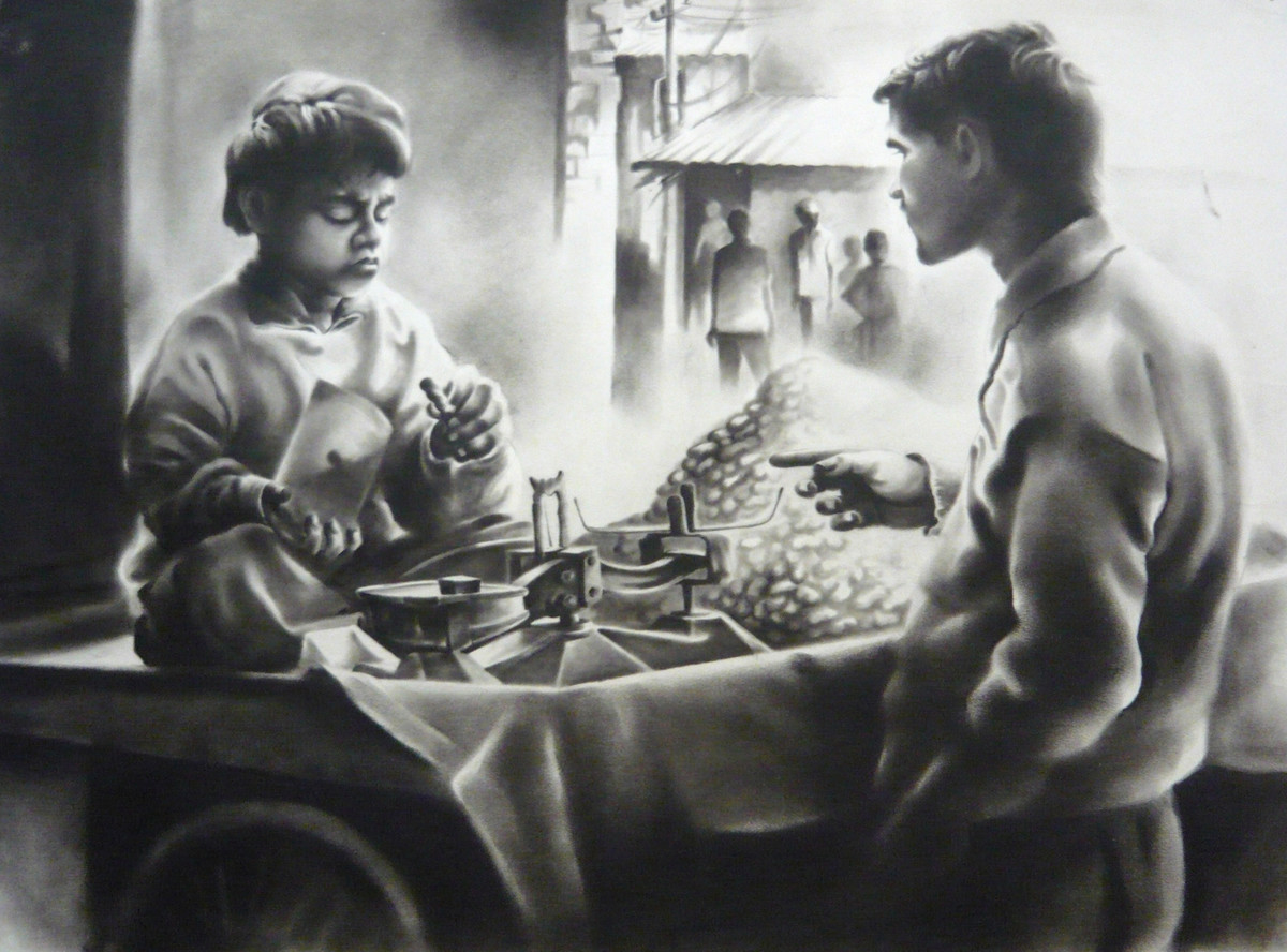Child Labor 3 by Chinmay Das, Impressionism Drawing, Charcoal on Paper, Gray color