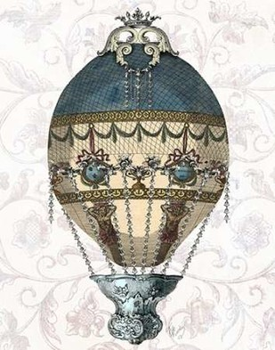 Baroque Balloon Blue & Cream Digital Print by Fab Funky,Decorative
