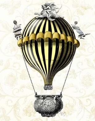 Baroque Balloon Black Yellow Digital Print by Fab Funky,Decorative