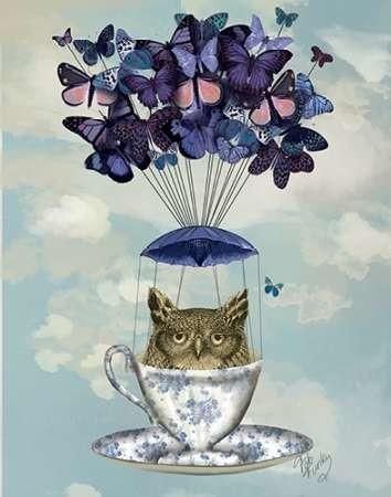 Owl In Teacup Digital Print by Fab Funky,Fantasy