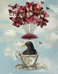 Blackbird In Teacup Digital Print by Fab Funky,Fantasy