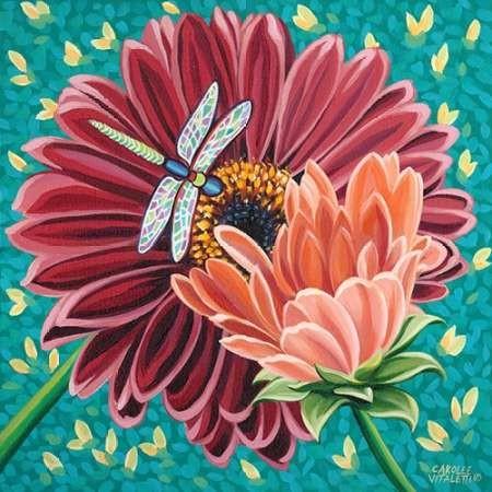 Dragonfly on Blooms II Digital Print by Vitaletti, Carolee,Decorative