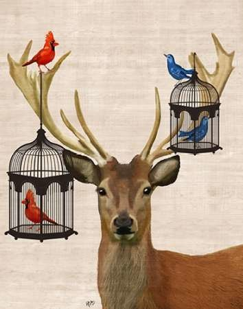 Deer And Bird Cages Digital Print by Fab Funky,Fantasy
