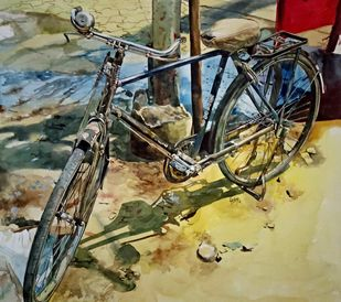 Old Cycle by Uday Bhan, Realism Painting, Watercolor on Paper, Beige color