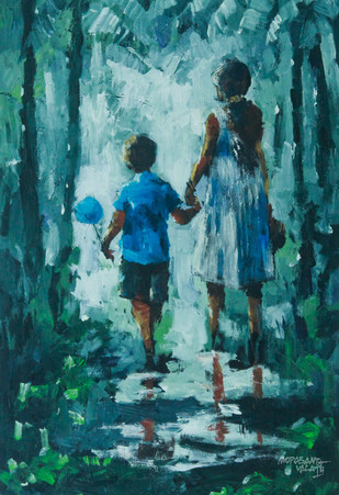 Fraternal Love by Mopasang Valath, Impressionism Painting, Acrylic on Canvas, Green color