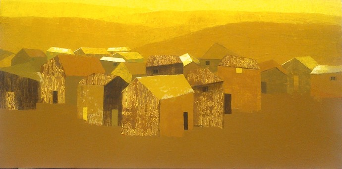 Evening by Nagesh Ghodke, Decorative Painting, Acrylic on Canvas, Brown color