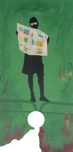 In Transition X by Manish Sutaar, Pop Art Painting, Acrylic on Wood, Green color