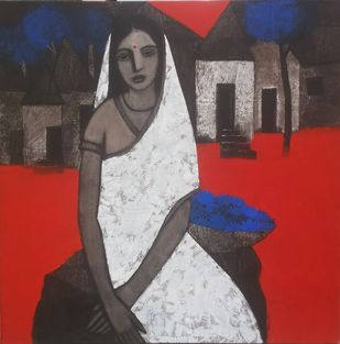 Village Lady With Blue Flowers by Nagesh Ghodke, Decorative Painting, Acrylic on Canvas, Gray color
