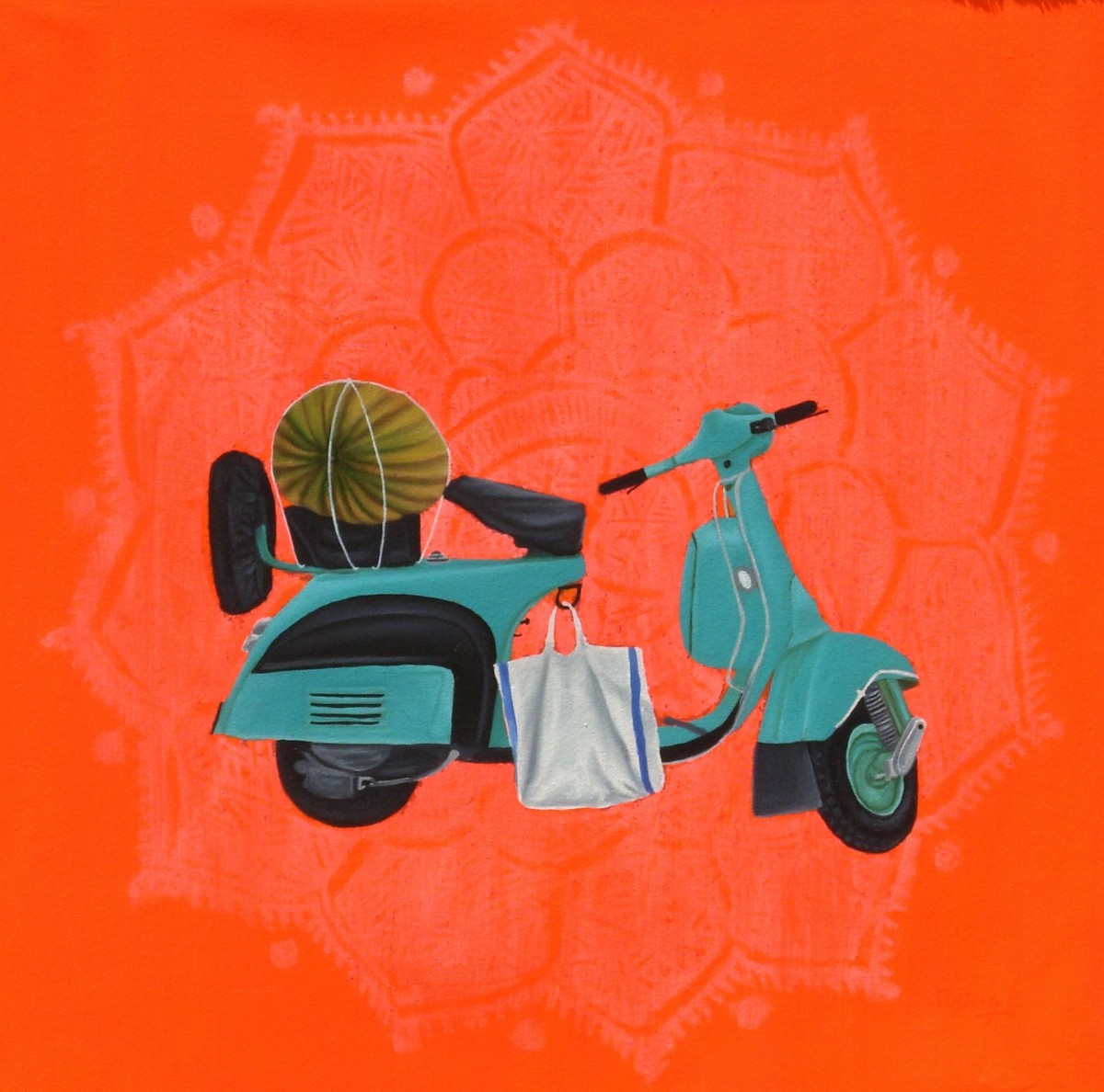 Pumpkin With Scooter by Tushar Waghela, Pop Art Painting, Acrylic on Canvas, Orange color