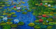 Lily Pond 1 by Sulakshana Dharmadhikari, Impressionism , Oil on Canvas, Green color