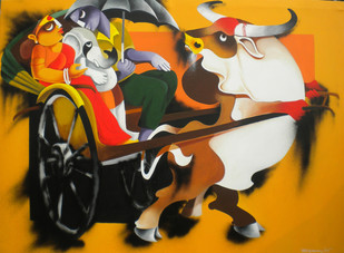 Journey 2 by Uttam Manna, Decorative Painting, Acrylic on Canvas, Brown color