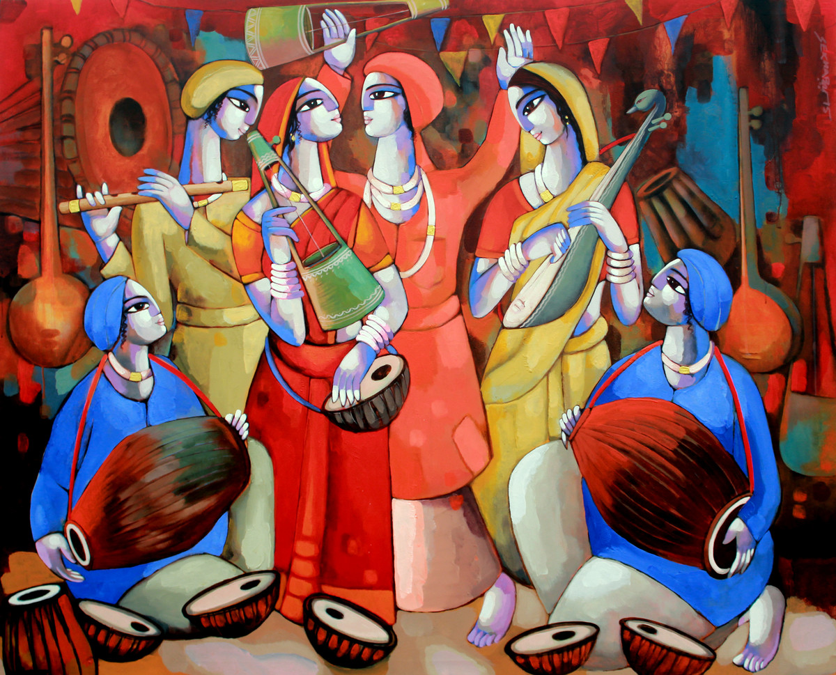 Folk Singer by Sekhar Roy, Decorative Painting, Acrylic on Canvas, Brown color
