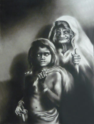 Beggar by Chinmay Das, Impressionism Drawing, Charcoal on Paper, Gray color
