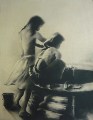 Desirous by Chinmay Das, Impressionism Drawing, Charcoal on Paper, Beige color
