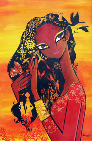 Dusk by Niloufer Wadia, Decorative Painting, Acrylic & Ink on Canvas, Brown color