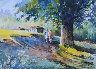 Ghar Vapasi by Mopasang Valath, Impressionism Painting, Watercolor on Paper, Green color