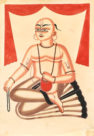 Kalighat Painting by Unknown Artist, Folk Painting, Watercolor on Paper, Pink color