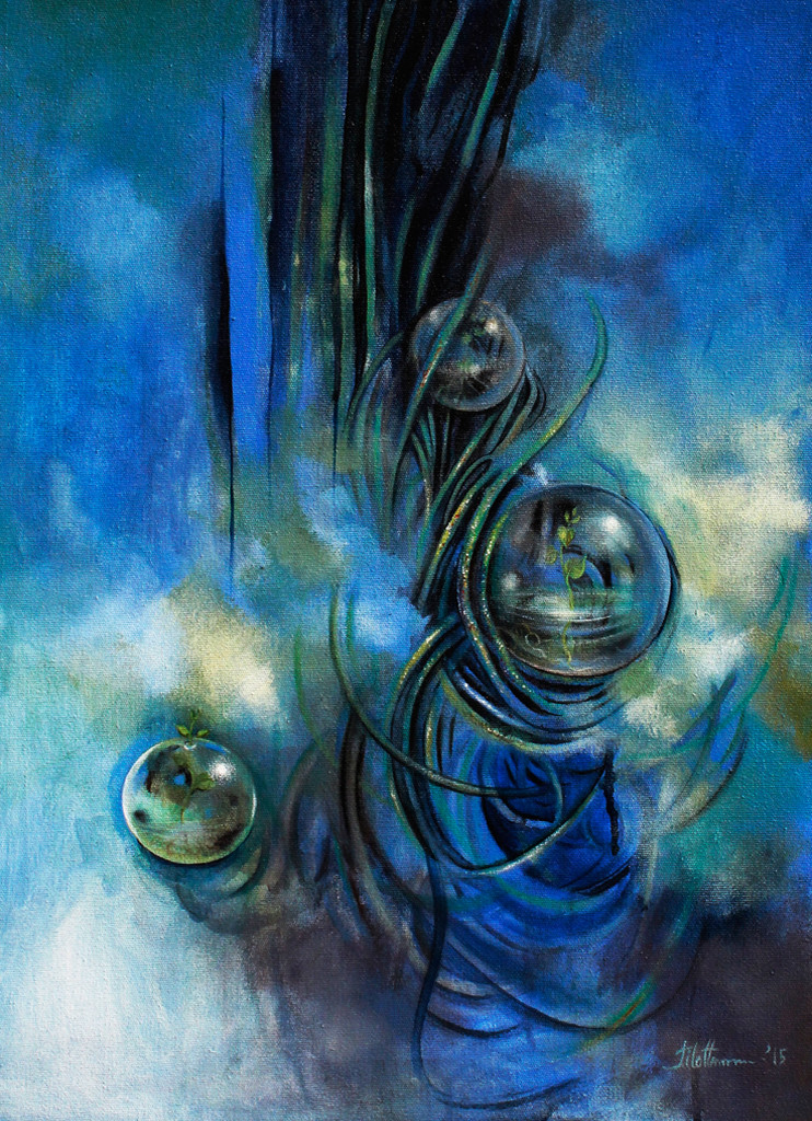 Untitled IV by Tilottama Bhowmick, Impressionism Painting, Acrylic on Canvas, Blue color