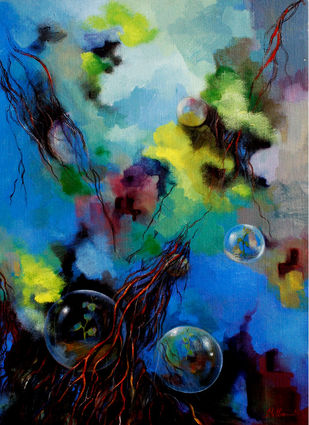 Untitled II by Tilottama Bhowmick, Impressionism Painting, Acrylic on Canvas, Blue color
