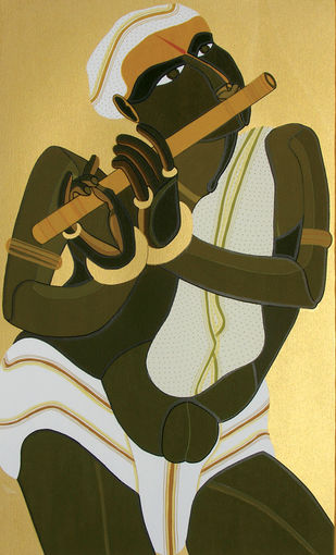 Krishna by Thota Vaikuntam, Traditional Serigraph, Serigraph on Paper, Beige color