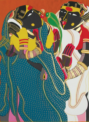 Gossiping by Thota Vaikuntam, Traditional Serigraph, Serigraph on Paper, Green color