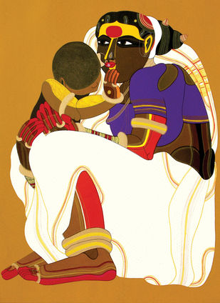 Mother and Child - II by Thota Vaikuntam, Traditional Serigraph, Serigraph on Paper, Brown color
