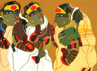 Women in Gossip by Thota Vaikuntam, Traditional Serigraph, Serigraph on Paper, Brown color